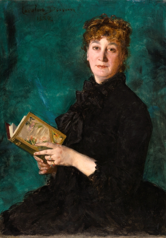 a portrait of a woman interrupted while trying to read a book